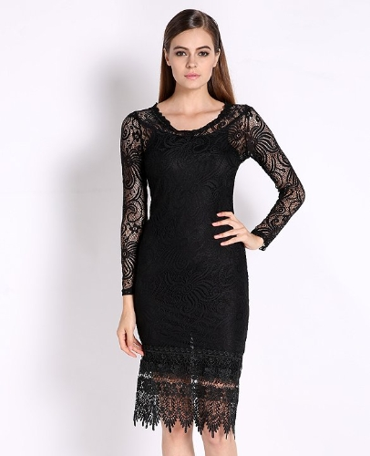 Buy Autumn Lace Dresses Woman Long Sleeve Black Hollow Elegant Flower Print Dress Midi O Neck Fashion Women Clothes