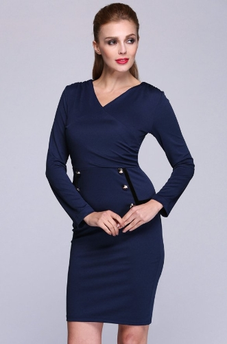 Buy Fashion Women OL Long Sleeve Sexy V-Neck Slim Fitting Pencil Dress
