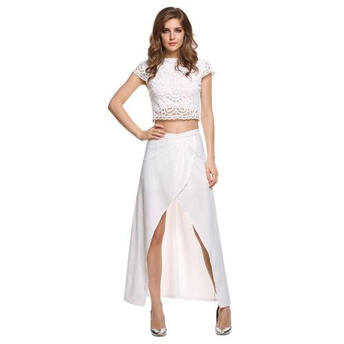 New Women Fashion Short Sleeve Sexy Slim Lace Embroidery Beach Maxi Two Piece Set Dress T-SV025740_W_XL
