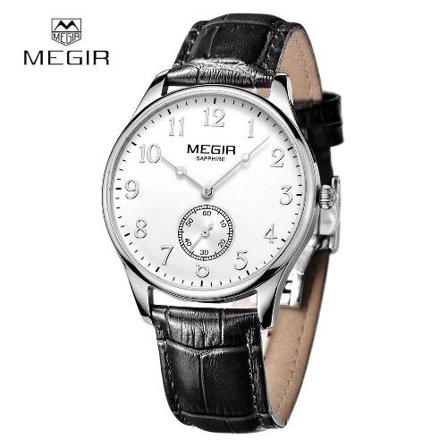 Buy MEGIR New Brand Sapphire Genuine Leather Gold Watches Men Chronograph Sport Waterproof Business Wirstwatch