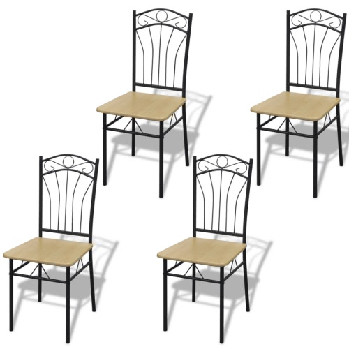 Set of 4 Light Brown Steel Frame Dining ChairsIndoor furniture<br>Set of 4 Light Brown Steel Frame Dining Chairs<br><br>Blade Length: 1.0cm
