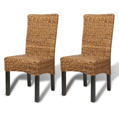 Abaca marrón hecho a mano rota Side Chair Set 2 piezas