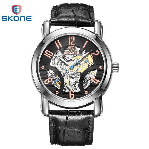 SKONE Automatic Mechanical Watches Men Top Luxury Genuine Leather Strap Casual Watch Waterproof Skeleton Watch