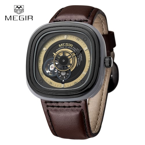 MEGIR Luxury Brand Skeleton Men Automatic Mechanical Wristwatch Genuine Leather Waterproof Men's Casual Business Watch with Sub-dial