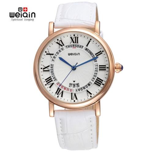 Quartz cadeau Dress Weiqin Auto date 3ATM Casual Luxury Fashion Montres Femmes Marque PU cuir