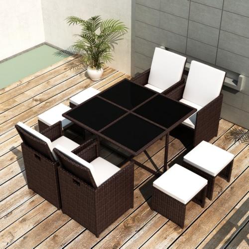 Brown Poly Rattan che pranza insieme Tavolo 4 sedie 4 sgabelli