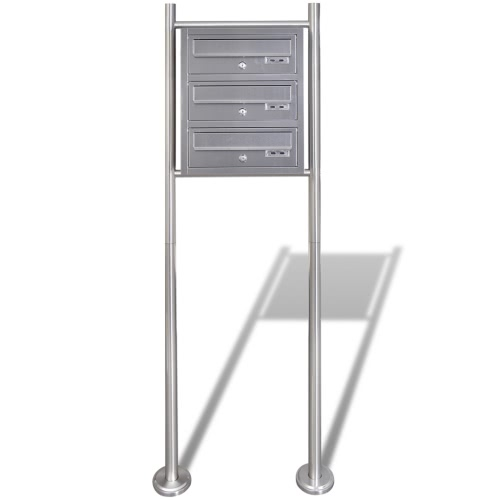 Triple Mailbox on Stand Stainless Steel 50356UK