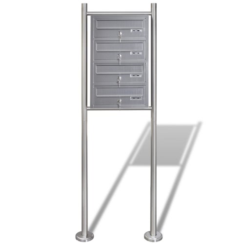 Quadruple Mailbox on Stand Stainless Steel 50357UK