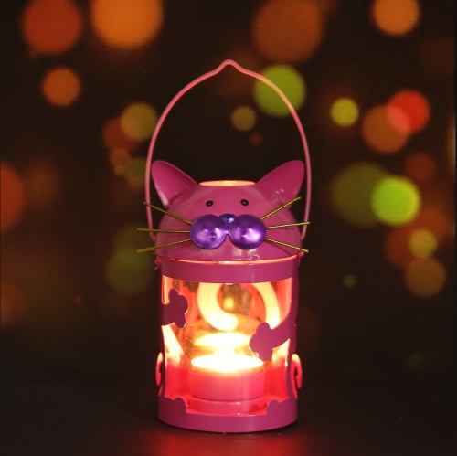 Cat candle holder(pink) Hurricane lamp Practical ornament
