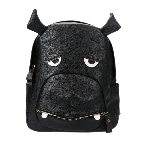 Buy Fashion Women Backpack Animal Pattern PU Leather Zipper Closure School Travel Shoulder Bags Black1/Black2