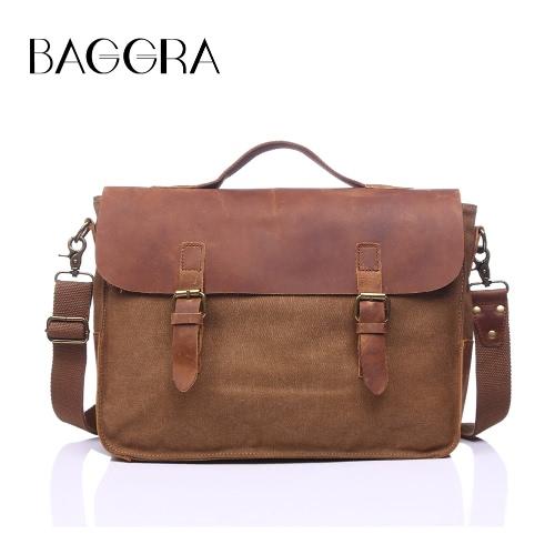 Buy Men Canvas Crossbody Bag Leather Splice Multi-Pocket Cover Zipper Casual Messenger Shoulder Handbag Khaki/Dark Blue/Dark Green