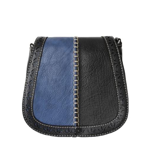 Vintage PU Leather Diagonal Color Block Women's