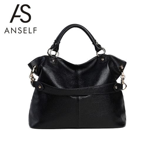 Buy Fashion Women Leather Handbag Grab Handle Zip Top Detachable Shoulder Strap Crossbody Bag