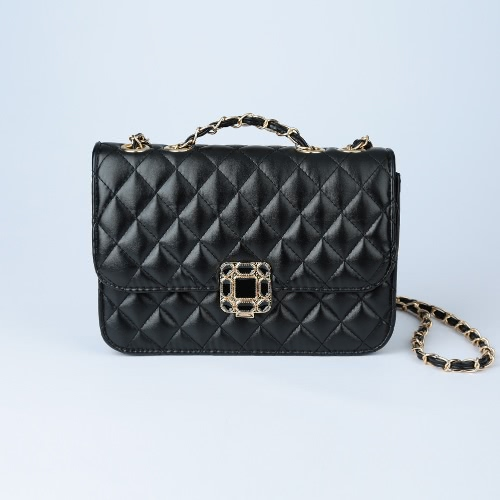 Women Small Shoulder Bag Quilted Chain PU