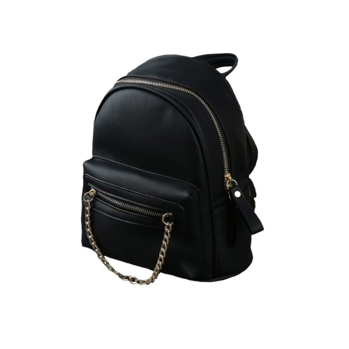 New Women PU Leather Backpack Chain Zipper
