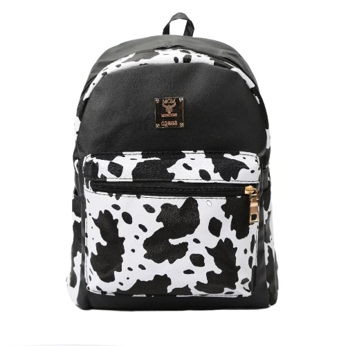 Fashion Women Backpack PU Leather Contrast Spot