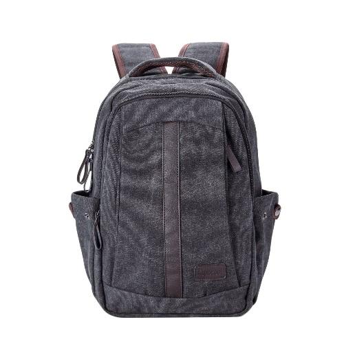 Men Canvas Backpack Shoulder Bag Zipper Casual