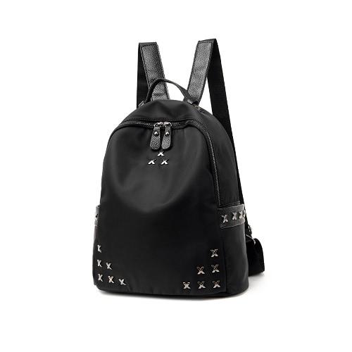 New Fashion Women Backpack Solid Nylon Rivet