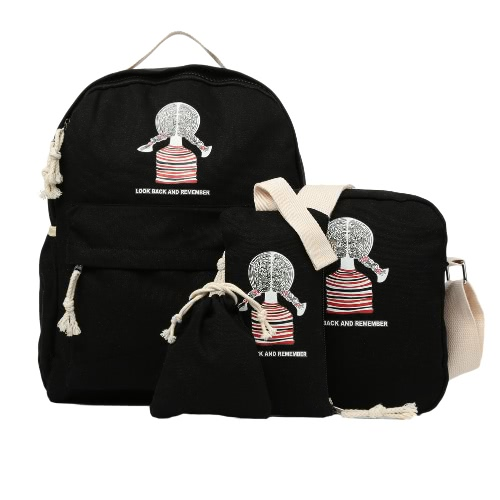 Casual Women Canvas Backpack Set School Bag