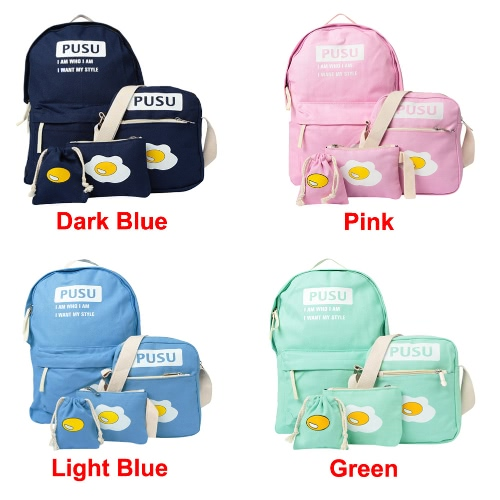 Women Canvas Backpack Set School Bag Print