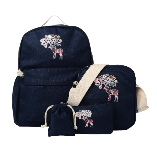 New Fashion Women Canvas Backpack Colorful Deer