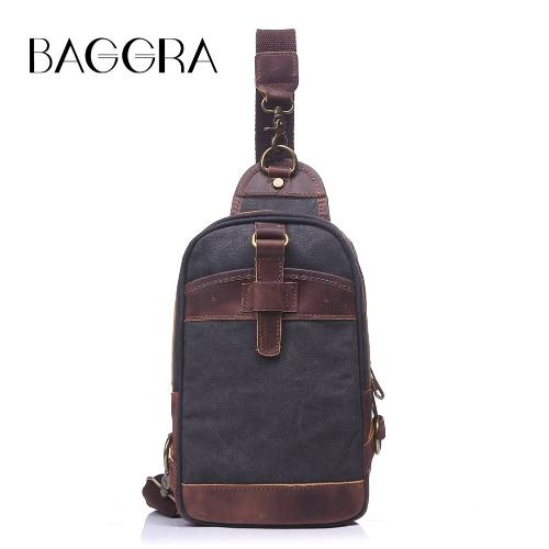 Buy Fashion Men Women Canvas Chest Pack Single Shoulder Bag Crazy Horse Leather Vintage Travel Crossbody Sling Rucksack