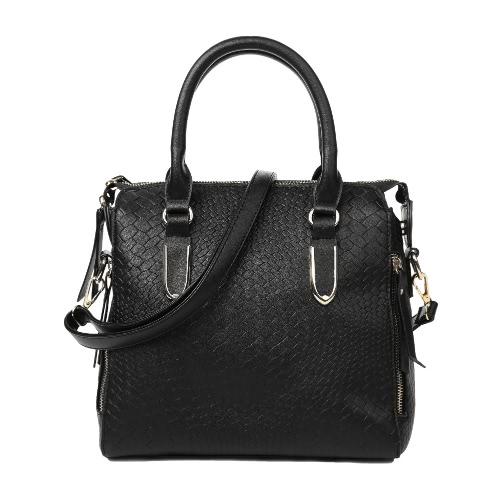 Buy Fashion Women Crossbody Leather Bag Handbag Solid Snake Skin Shoulder Multi-Pocket Zipper Strap Shopping Tote