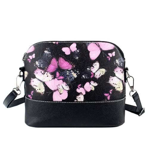 Fashion Women Shoulder Bag Butterfly Floral Print PU Leather Zipper Closure Crossbody Messenger Handbag BlackFashion Women Shoulder Bag Butterfly Floral Print PU Leather Zipper Closure Crossbody Messenger Handbag Black<br><br>Blade Length: 23.0cm