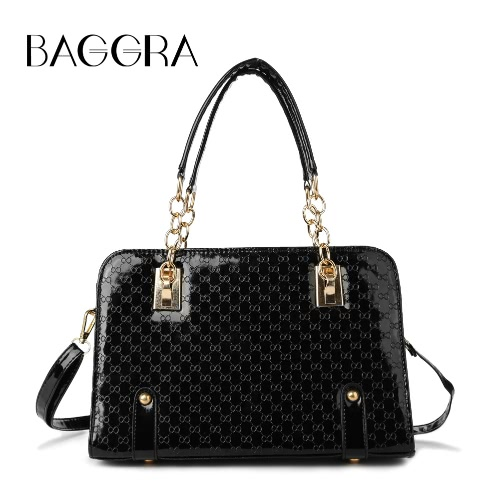 New Fashion Women Handbag Shoulder Bag Shiny Textured Finish Zipper Adjustable Strap Crossbody Bag BlackNew Fashion Women Handbag Shoulder Bag Shiny Textured Finish Zipper Adjustable Strap Crossbody Bag Black<br><br>Blade Length: 30.0cm