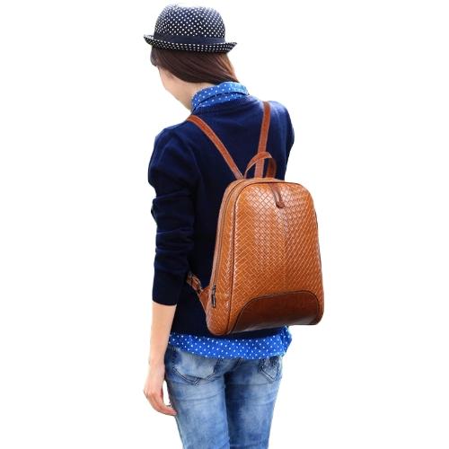 Fashion Women Backpack Woven Design Soft PU