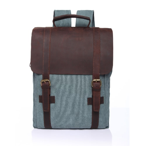 Buy Vintage Men Women Canvas Backpack Leather Splice Solid Color Large Capacity Student Schoolbag Laptop Travel Bag