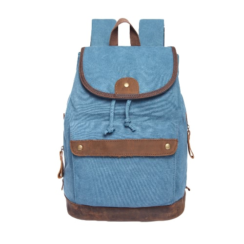 Buy Fashion Women Canvas Backpack Leather Drawstring Closure Hasp Pockets Large Travel Bag Khaki/Dark Grey/Blue
