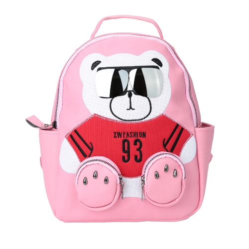Cute Women Backpack PU Leather Bear Glasses