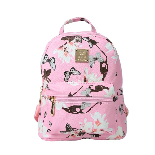 Fashion Women Backpack Flower Butterflies Print PU