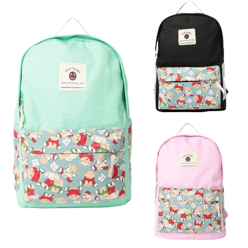 Casual Women Girls Canvas Backpack Set Cartoon