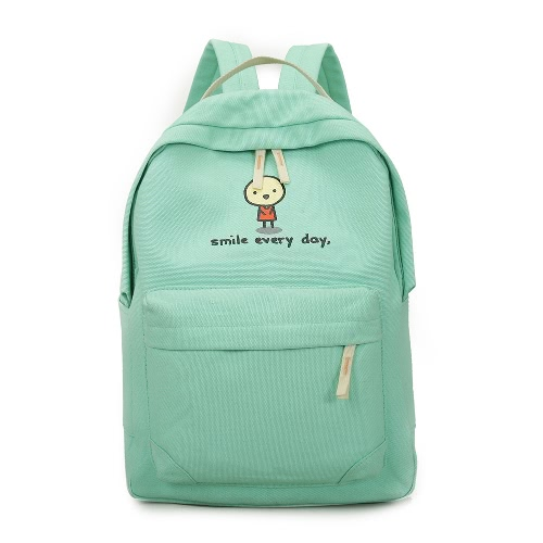 Fashion Cartoon Print Zipper Pockets Unisex Canvas