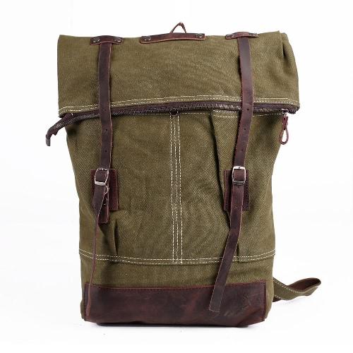 Buy Vintage Women Men Canvas Backpack Crazy Horse Leather Large Capacity Retro Satchel School Bag Travel Rucksack