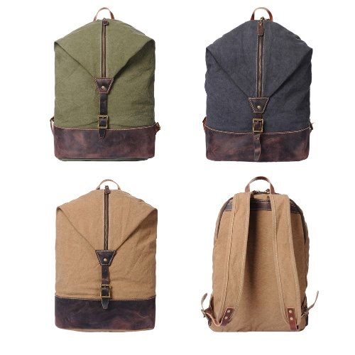 New Vintage Men Canvas Backpack Leather Splice Solid Color Large Capacity Schoolbag Outdoor Travel Bucket Bag Khaki/Grey/Army GreenNew Vintage Men Canvas Backpack Leather Splice Solid Color Large Capacity Schoolbag Outdoor Travel Bucket Bag Khaki/Grey/Army Green<br><br>Blade Length: 50.0cm