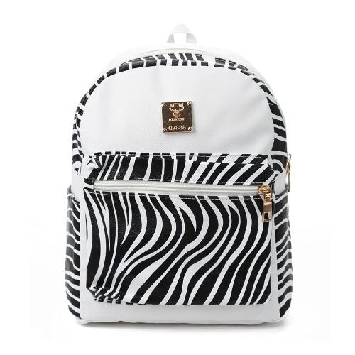 New Fashion Women Backpack PU Leather Zebra