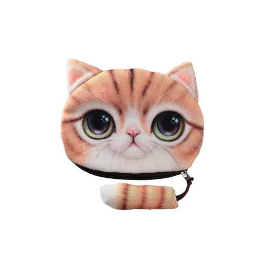 Cartoon Women Coin Purse Cat Animal Head Print Tail Zipper Closure Mini Wallet Small Clutch BagCartoon Women Coin Purse Cat Animal Head Print Tail Zipper Closure Mini Wallet Small Clutch Bag<br><br>Blade Length: 16.0cm