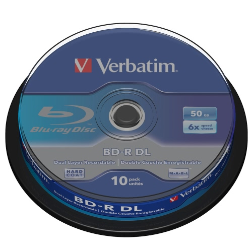Verbatim DL BD-R 50GB 6X 10PK Spindle Double Dual Layer Blu-ray Recordable Media Disc Branded Compact Write Once Data Storage 43746 C3262