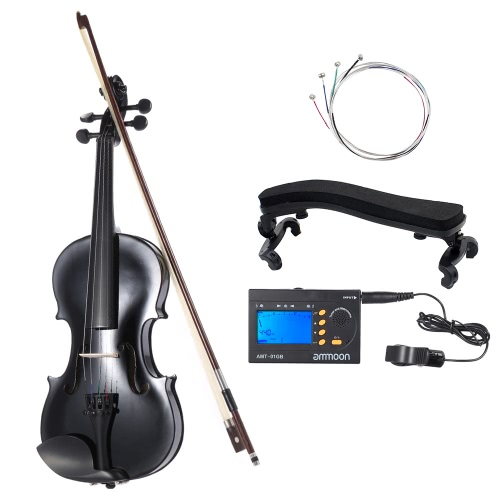 ammoon 4/4 Natural Acoustic Violin Fiddle Spruce Steel String with Case Arbor Bow for Music Lovers Beginners + ammoon AMT-01GB Multifunctional 3in1 Digital Tuner + Metronome + Tone Generator for Chromatic Guitar Bass Violin + 4pcs A Set of Violin Strings