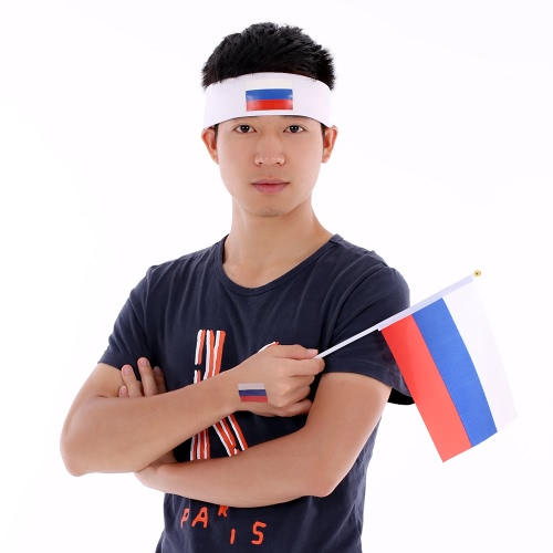 Buy ANSELF Russia Flag Headband Head Band Sweatband Cheering Squad Football Soccer Sports Fans Headwear Carnival Festival Costume + 10pcs/set National Temporary Tattoos Body Face Tattoo Sticker Patriotic