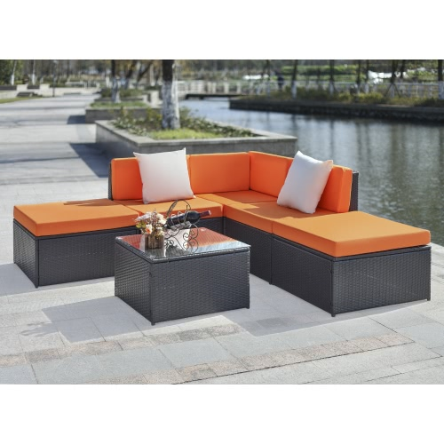 iKayaa 6PCS Cushioned Rattan Outdoor Patio Furniture Set Garden Wicker Sectional Corner Sofa Couch Table SetPatio Furniture Sets<br>iKayaa 6PCS Cushioned Rattan Outdoor Patio Furniture Set Garden Wicker Sectional Corner Sofa Couch Table Set<br><br>Blade Length: 75.0cm