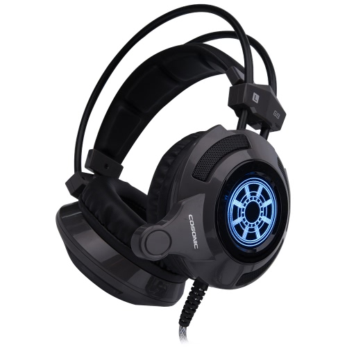 Cosonic G9 Professional Esport Gaming Stereo Music Headset Headphone Bass Vibration Over-ear USB 3.5mm Wired with Mic LED Light for Mac Laptop PC Computer C3157B