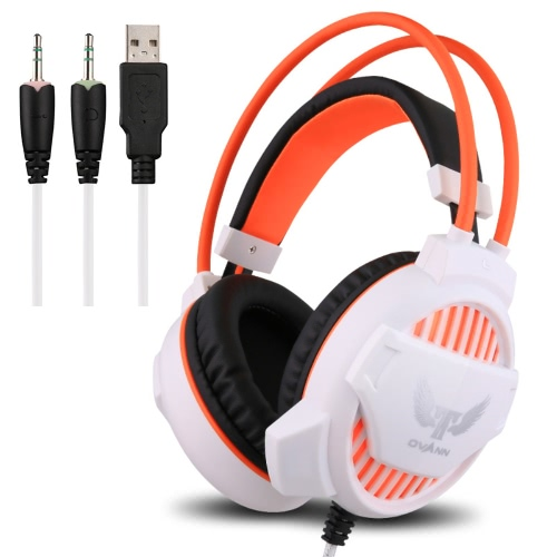 Ovann G1 Professional Esport Gaming Stereo Bass Headset Headphone Earphone Over Ear 3.5mm & USB Wired with Microphone LED Light for PC Computer Laptop C3097W-C