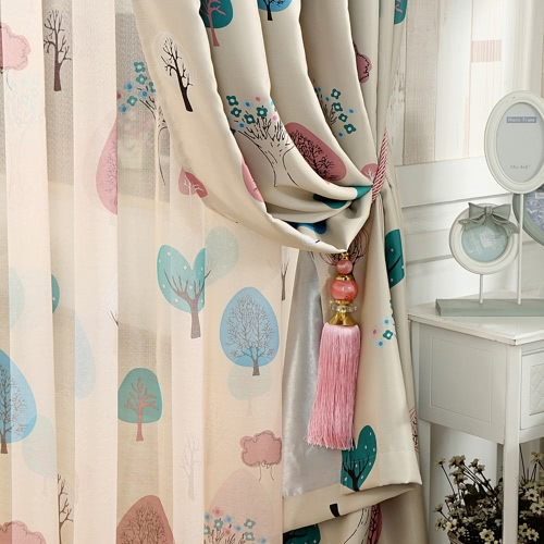 Anself 2PCS 100*250cm Punching Grommet Blackout Curtain Linings Panel Bright Colored Trees Curtains with Curtain Voile   Soft Window Drape Classy Decoration Draperies for Living Room Bedroom Size 39*98Home Textile<br>Anself 2PCS 100*250cm Punching Grommet Blackout Curtain Linings Panel Bright Colored Trees Curtains with Curtain Voile   Soft Window Drape Classy Decoration Draperies for Living Room Bedroom Size 39*98<br><br>Blade Length: 37.0cm