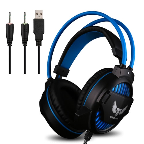 Ovann G1 Professional Esport Gaming Stereo Bass Headset Headphone Earphone Over Ear 3.5mm & USB Wired with Microphone LED Light for PC Computer Laptop C3097B-BL