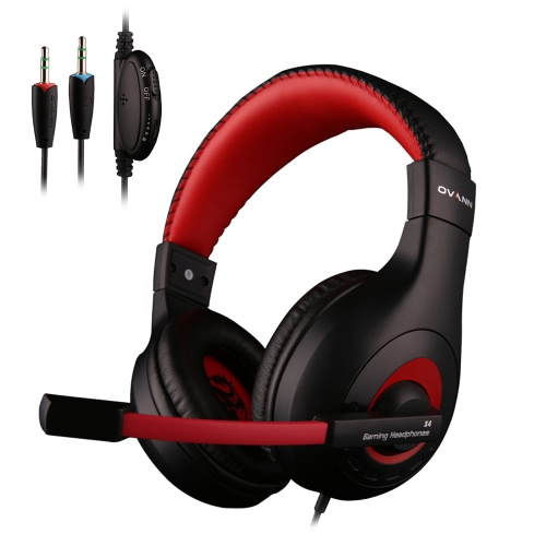 Ovann X4 Professional Esport Gaming Stereo Bass Headset Headphone Earphone Over Ear 3.5mm Wired with Microphone for PC Computer Laptop C3103B-R