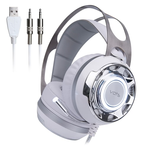 VOTS Professional Esport Gaming 7.1 Virtual Surround Sound Stereo Music Headset Headphone Bass Vibration Over Ear USB 3.5mm Wired with Mic LED Light